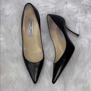 Jimmy Choo Leather Pointed Black Heels size 6